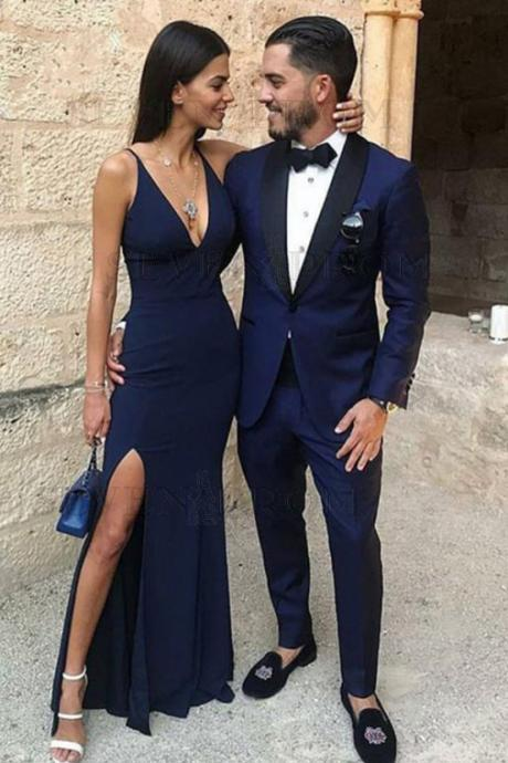Mermaid Prom Dresses,V-Neck Prom Gown,Navy Blue Prom Dress,Stretch Satin Prom Dress with Split DS104