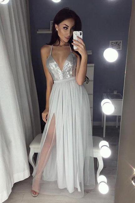 Hot Prom Gown,Sexy Party Dresses,A-Line Prom Dresses,Spaghetti Straps Prom Dress,Split Front Evening Dress,Gray Evening Dress DS108