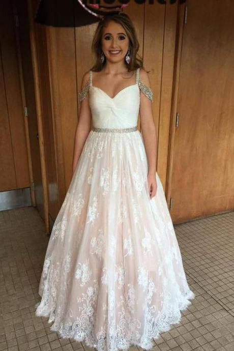 Charming Prom Dresses,Long Prom Dress,Lace Evening Dress,Off the Shoulder Prom Dresses,A Line Formal Dress DS111
