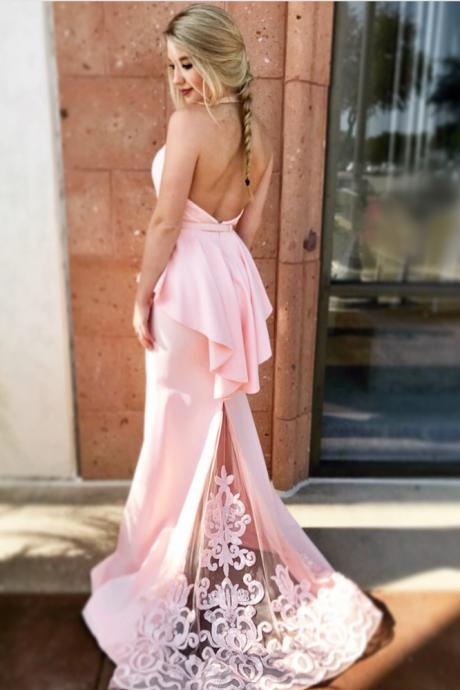 Unique Prom Dress,Mermaid Prom Gown,Halter Prom Dresses,Backless Prom Gown,Pink Prom Dresses,Long Prom Dress With Lace DS118