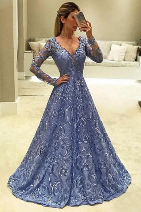 A-Line Prom Dresses,V-Neck Prom Gown,Long Sleeves Prom Dress,Blue Prom Dresses,Long Evening Dress,Lace Prom Dress DS119
