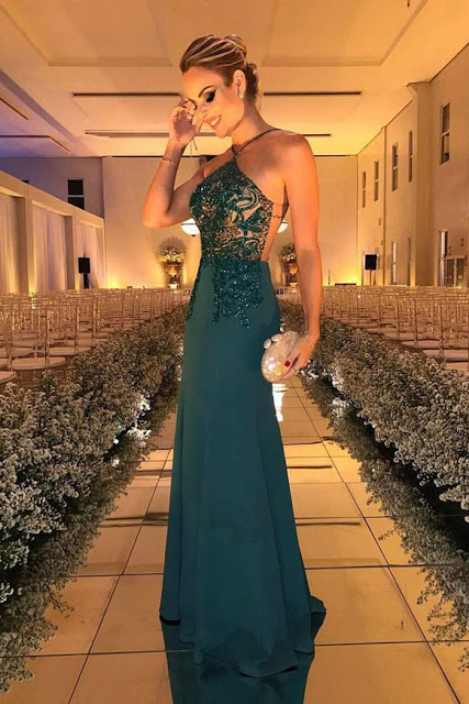Dark Green Prom Dresses,Beading Prom Dress,Sleeveless Prom Gown,Long Evening Dresses DS131