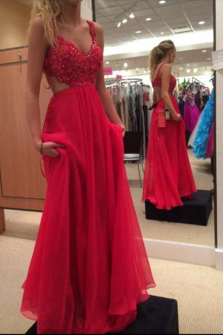 Spaghetti Strap Prom Dresses,Red Prom Gown,Chiffon Prom Dress,Backless Evening Dress,Formal Gown,Beading Prom Dress DS132