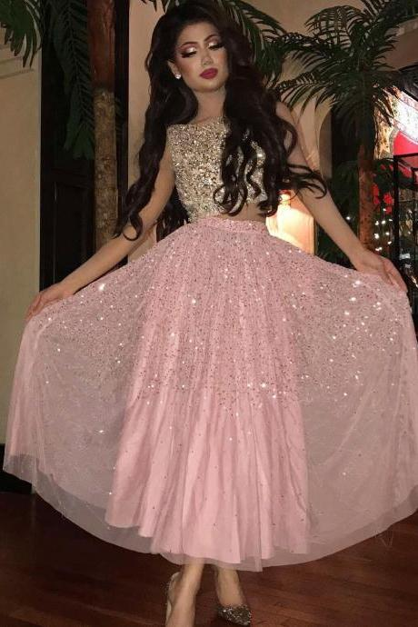 Two Pieces Prom Dresses,Beading Prom Dress,Long Prom Dresses,Pink Prom Dresses,Sequined Evening Dress,Sexy Evening Dresses DS137