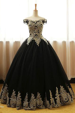 Black Prom Dresses,Appliques Prom Gown,Ball Gown Prom Dress,Long Prom Gown,Formal Evening Dress,Black Quinceanera Dress DS140