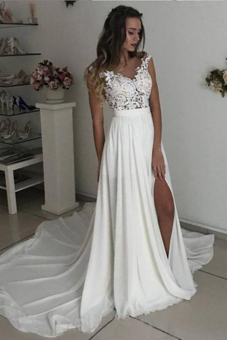 Off White Wedding Dresses,Long Wedding Dresses,Chiffon Wedding Dresses,Cap Sleeves Wedding Dresses With Lace WD64