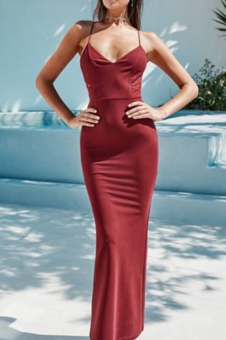 Gorgeous Prom Dresses,Burgundy Prom Dress,See Through Back Evening Dress,Mermaid Prom Dress DS148