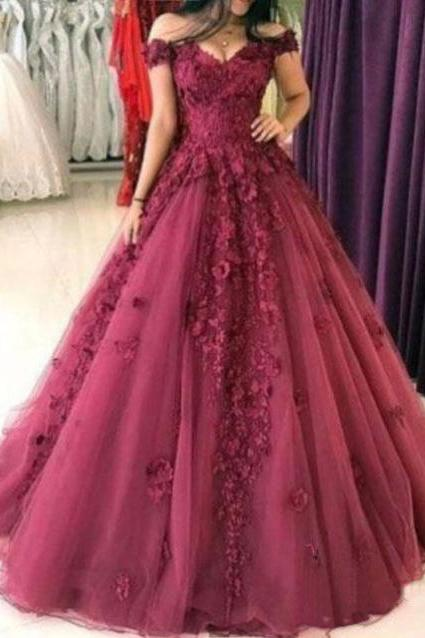 Floral Prom Dresses,Applique Prom Gown,Long Prom Dress,Off the Shoulder Prom Dress,A-Line Evening Dresses DS150