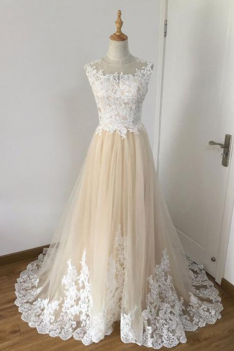 Champagne Prom Dresses,A-line Prom Dress,Tulle Prom Gown,Lace Applique Prom Dresses,Long Prom Dress DS152