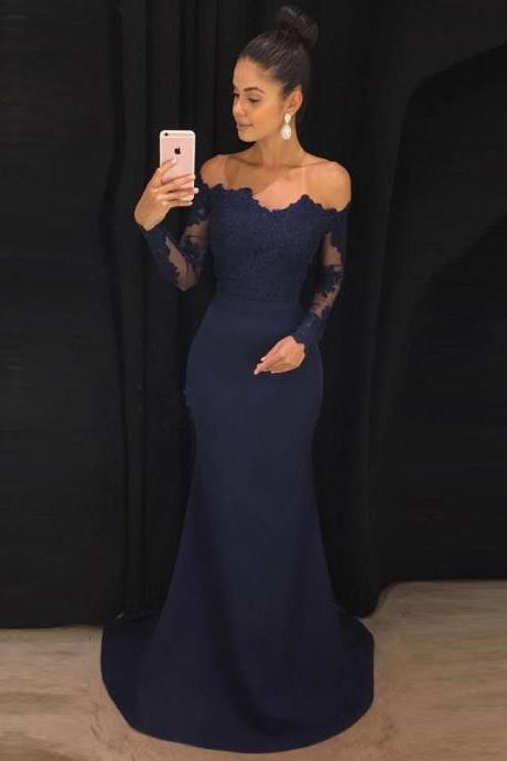Navy Prom Dresses,Mermaid Prom Dress,Off the Shoulder Prom Dress,Long Prom Dresses with Long Sleeves DS155