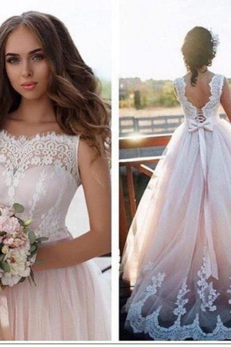 A-line Wedding Dresses,Nude Tulle Bridal Dresses with Ivory Lace,Appliqued Illusion neck Wedding Dresses WD006