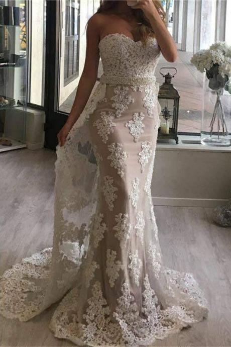 elegant wedding dresses,sweetheart wedding dress,mermaid wedding dresses,lace prom dress with watteau train WD007