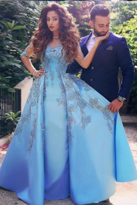 elegant prom gown,blue prom dresses,satin prom dress,half sleeves prom dress with appliques,satin party dress with appliques,princess prom dresses DS162