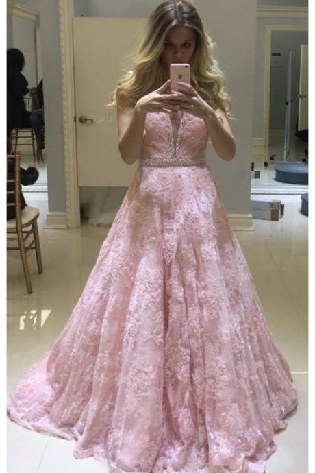 Pink prom dresses,formal party dress,V neck prom dress,lace prom gown,long evening dress,backless prom dress DS173