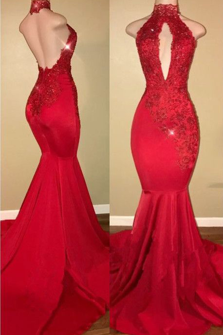 Sexy Prom Dresses,Halter Prom Gown,Mermaid Prom Dress,2018 Prom Dress,Lace Appliques Prom Dresses,Red Prom Dress DS189
