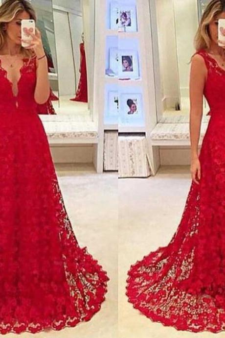 Red prom dress,lace prom dresses,A line prom dresses,long prom dresses,prom dresses cheap,long dresses for prom DS190