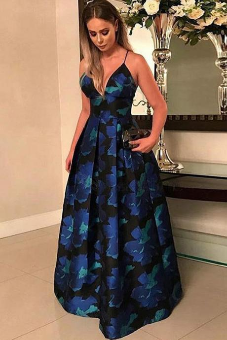 A-Line Prom Dresses,Spaghetti Straps Prom Gown,Floor Length Prom Dress,Floral Prom Dresses,Satin Prom Dress DS199