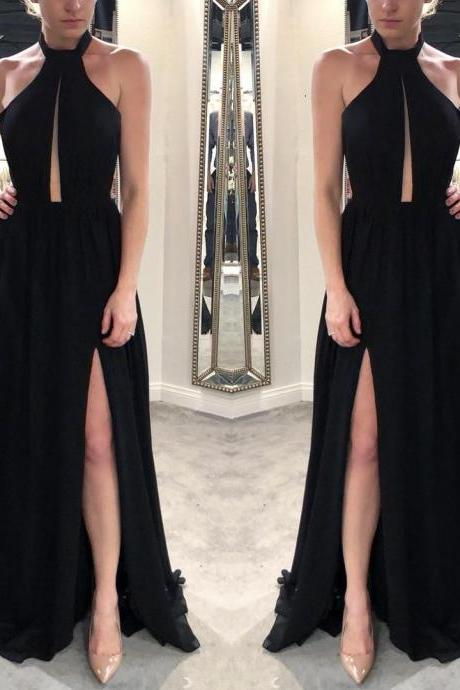 Sexy Prom Dresses,Black Prom Dress,Chiffon Prom Dresses,Long Prom Dress with Side Slit,Formal Evening Dresses DS210
