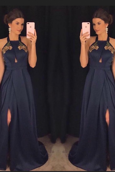 Charming Prom Dress,Navy Blue Prom Dresses,Satin Prom Dress,Long Evening Dresses ,Formal Evening Gowns,Party Gowns DS220