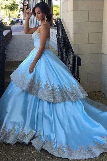 Classy Prom Dresses,Blue Ball Gown,Appliques Prom Gown,Satin Evening Dress,Quinceanera Dress DS223