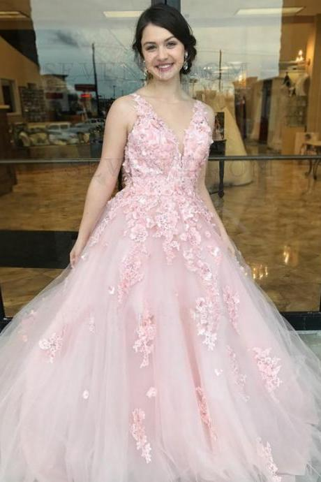 A-Line Prom Dresses,Open Back Prom Gown,Pink Prom Dress,Lace Appliques Prom Dresses DS227