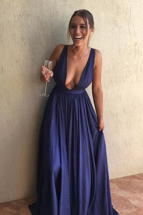 Sexy Prom Dresses,A-Line Prom Dress,Deep V-Neck Prom Dresses,Blue Prom Dress,Long Prom Dress DS237