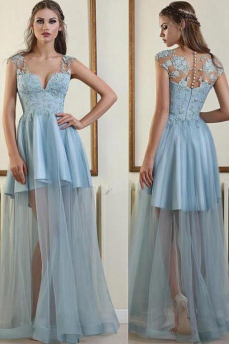 Tulle Prom Dresses,V-neck Prom Dresses,Light Blue Prom Dress,Beaded Prom Dresses,Lace Appliques Prom Dresses DS256
