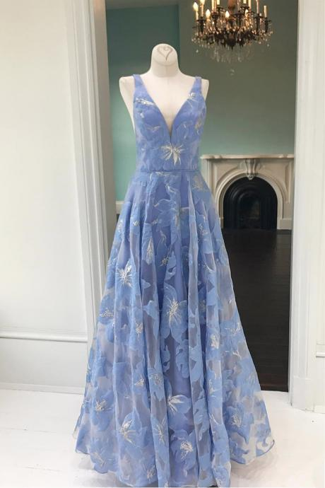 Simple prom dress,blue prom dresses,floral prom dress,lace prom gown,V neck prom dresses,long prom dress DS265