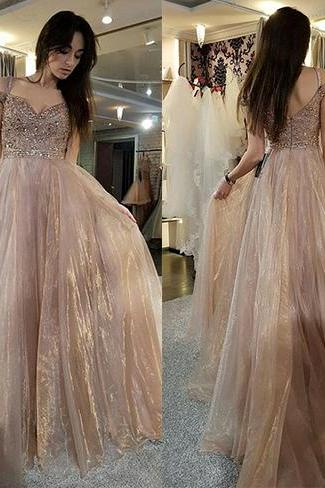 Gorgeous Prom Dresses,Off the Shoulder Prom Dress,Brown Prom Dresses,Long Prom Dress,Beading Prom Gown DS266