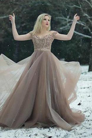 off the shoulder prom dresses,champagne long prom dress,beaded prom gown,brown prom dresses,long prom dress DS267