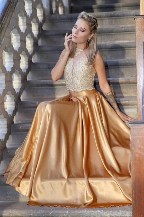Princess Prom Dresses,Two Piece Prom Dress,Gold Prom Dresses,Long Prom Dress,Lace Top dresses DS275