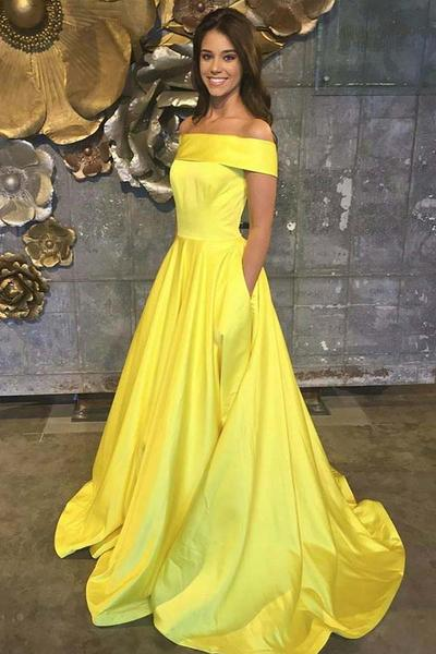 Yellow Prom Dresses,Off The Shoulder Prom Dresses,A Line Prom Dress,Long Evening Gown With Pockets,Satin Prom Dresses DS283