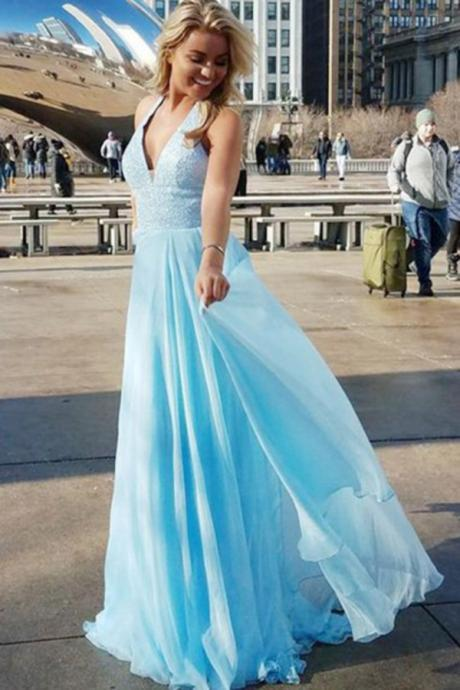 A-Line Prom Dress,Deep V-Neck Prom Dresses,Blue Prom Dresses,Chiffon Prom Dress with Sequins DS284