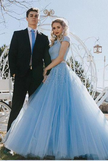 two piece prom dress,blue long prom dress,beading party dress,tulle prom dresses,off the shoulder prom gown DS288