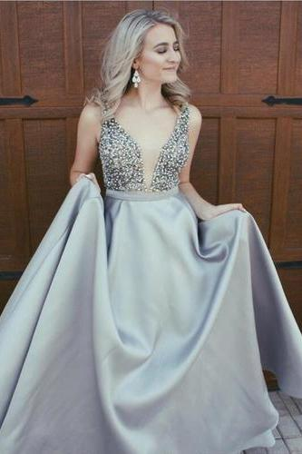 A-Line Evening Dress,V-Neck Prom Dresses,Satin Prom Dress with Beaded Bodice,Sleeveless Prom Dresses,Backless Prom Dress DS296