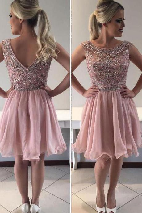 Pink Homecoming Dresses,Organza Homecoming Dress,Mini Homecoming Dresses,Beading Homecoming Dresses,Short Homecoming Dresses DS312