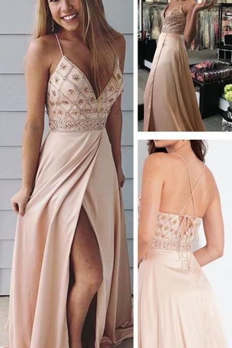 Spaghetti straps prom dresses,long prom dress, beaded prom gown,party dress with side slit DS314