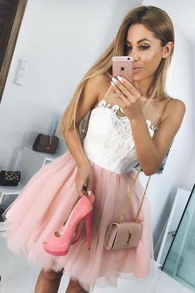 White and Blush Pink Short Homecoming Dress,Short Party Dresses,Tulle Homecoming Dresses,Mini Prom Dress DS321