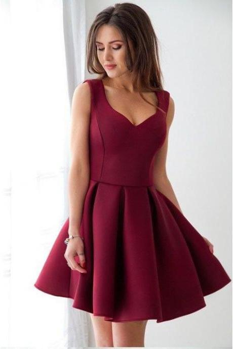 Elegant Homecoming Dress,Burgundy Homecoming Dresses,2018 Homecoming Dresses,Short Party Gowns,Satin Cocktail Dress DS326