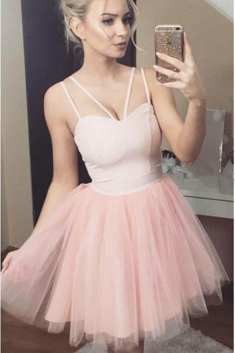 Cute Pink Homecoming Dress,Short Homecoming Dresses,Spaghetti Straps Cocktail Dresses,Backless Prom Dress ,Short Evening Dress DS339