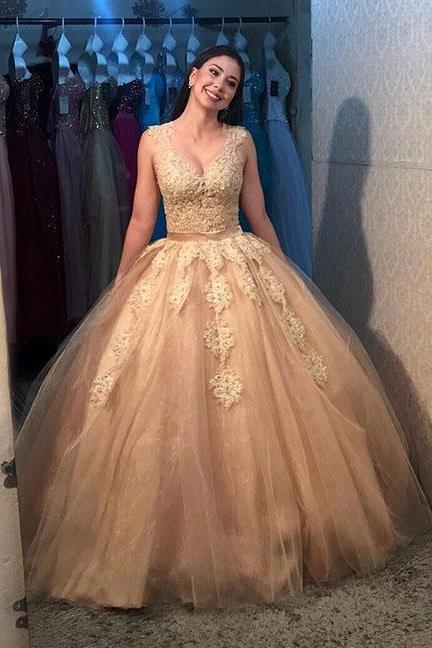 Gold Prom Dresses,Tulle Prom Gown,Long Prom Dress,Ball Gown Prom Dress,Princess Prom Dresses DS350