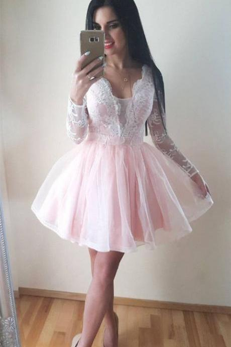 Cute homecoming dress,a-line homecoming dresses,blush pink homecoming dresses,tulle homecoming dresses,long sleeves homecoming dresses,appliques homecoming dresses DS359