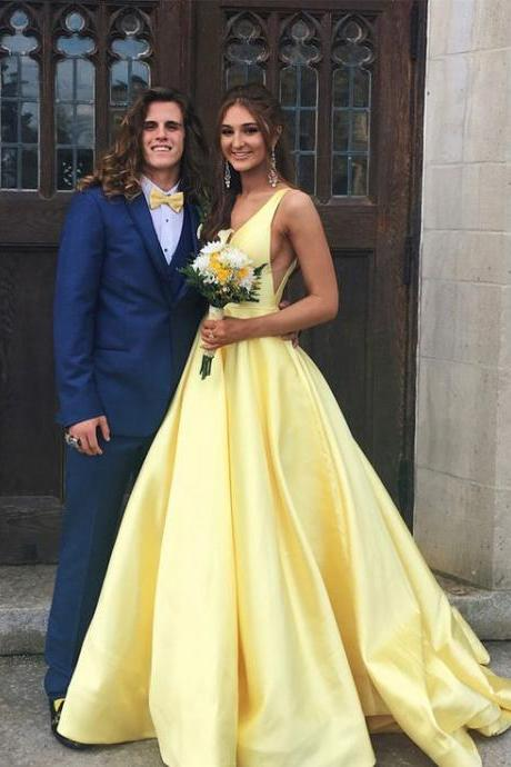 yellow prom dress, 2018 prom dress, elegant party dress, v neck prom dresses,long prom dress party dress DS360