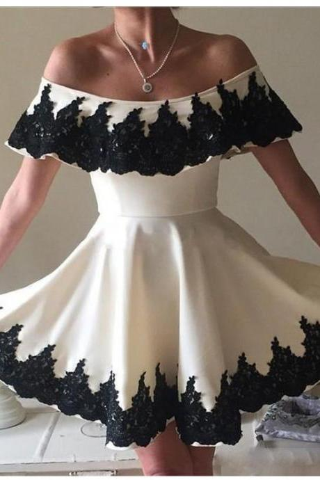 Black and White Homecoming Dresses,Off The Shoulder Homecoming Dresses,Mini Homecoming Dress,A Line Homecoming Dresses DS369