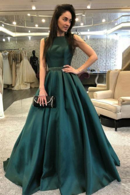 A-Line Prom Dress,Backless Prom Dresses,Dark Green Prom Dress with Beading,Satin Prom Gown,Long Prom Dresses DS370