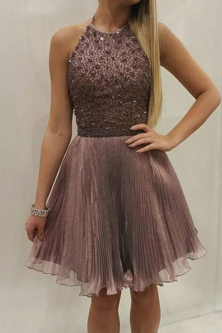 Beaded Homecoming Dress,Bodice Homecoming Dresses,Tulle Homecoming Dress,Halter Shinny Homecoming Dresses DS375