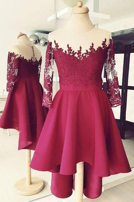 Burgundy Homecoming Dresses,High Low Homecoming Dress,Short Prom Dresses,3/4 Sleeves Homecoming Dresses,Lace Applique Homecoming Dresses DS377