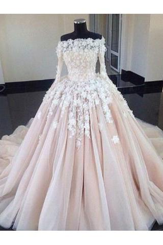 Ball Gown Wedding Dresses,Unique Wedding Dress,,Long Sleeves Wedding Gown,Lace Wedding Dresses DS403