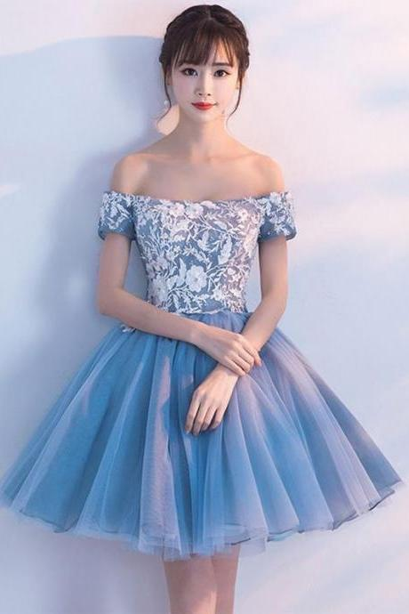Cheap Homecoming Dress,Blue Homecoming Dresses,Off Shoulder Homecoming Dresses,Lace Homecoming Dress,Cute Homecoming Dresses DS413