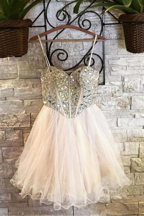 Cute Homecoming Dresses,Sweetheart Homecoming Dress,Tulle Homecoming Dresses,Short Prom Dress,Beading Homecoming Dresses DS445